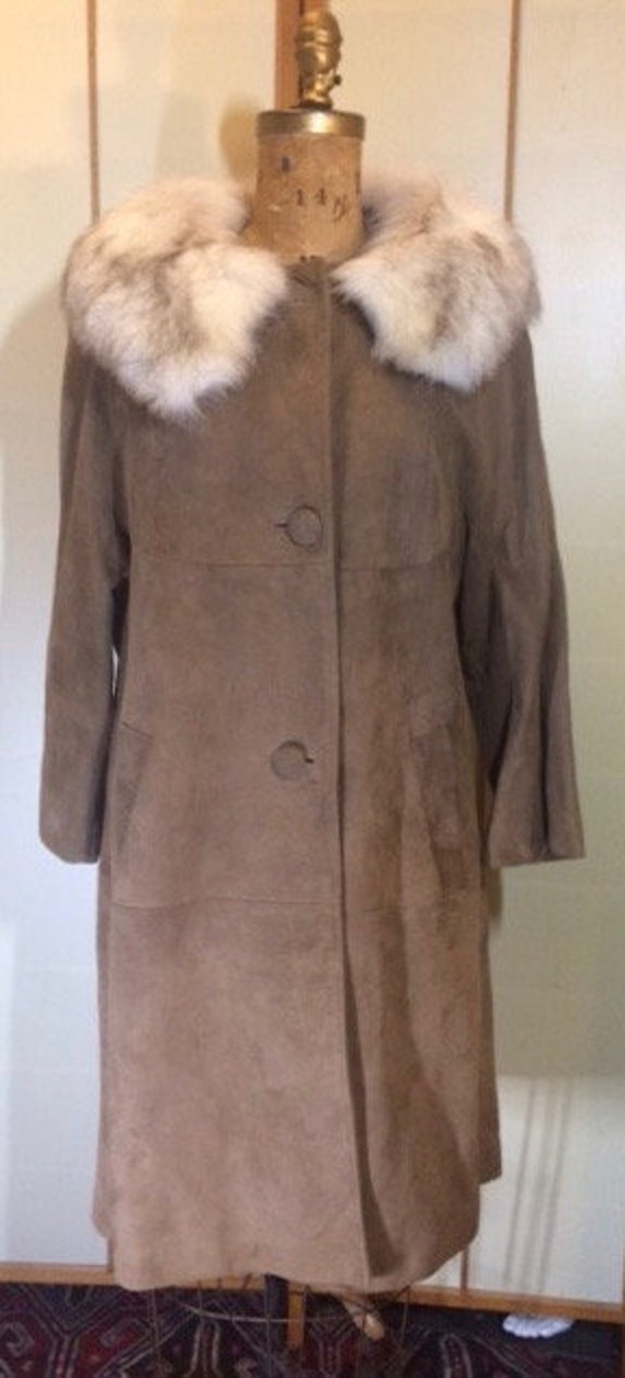 Suede Fox Fur Beige Brown 70's Coat S Hippy Penny… - image 1