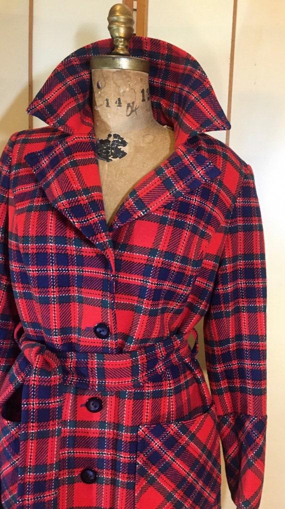 Women's Vintage coat- Plaid Pendleton Wool Red Fi… - image 4