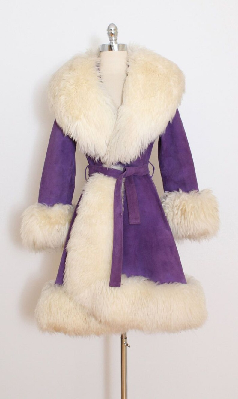 355d08fb3a9 Lilli Ann Purple Suede and Massive Shearling Coat Penny Lane