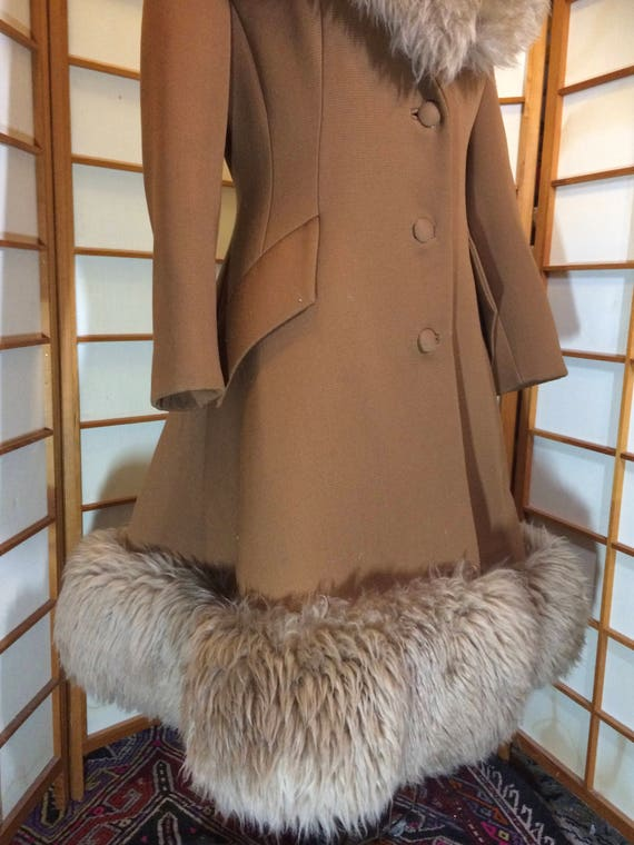 60s Lilli Ann Brown Princess Coat Wool Fit and Fl… - image 6