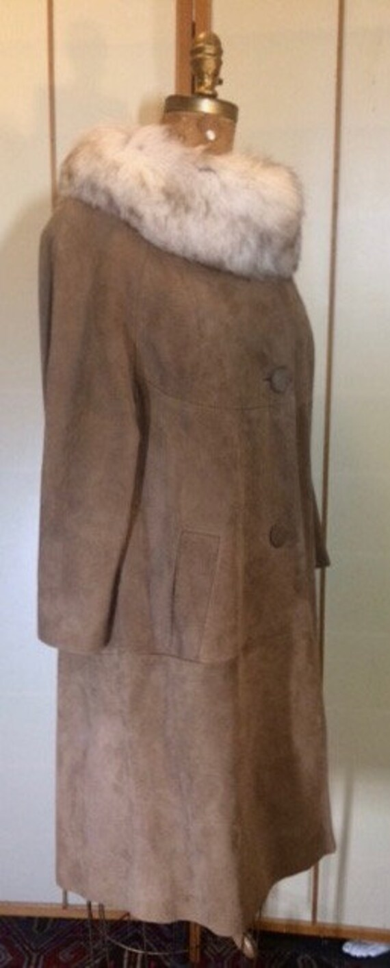 Suede Fox Fur Beige Brown 70's Coat S Hippy Penny… - image 3