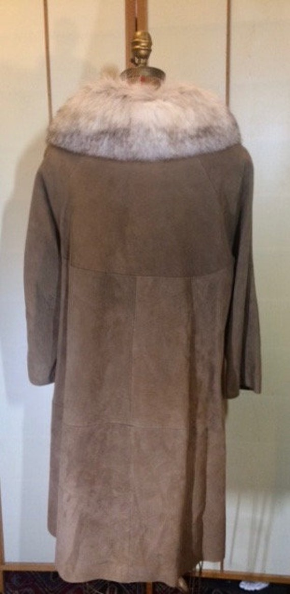 Suede Fox Fur Beige Brown 70's Coat S Hippy Penny… - image 6