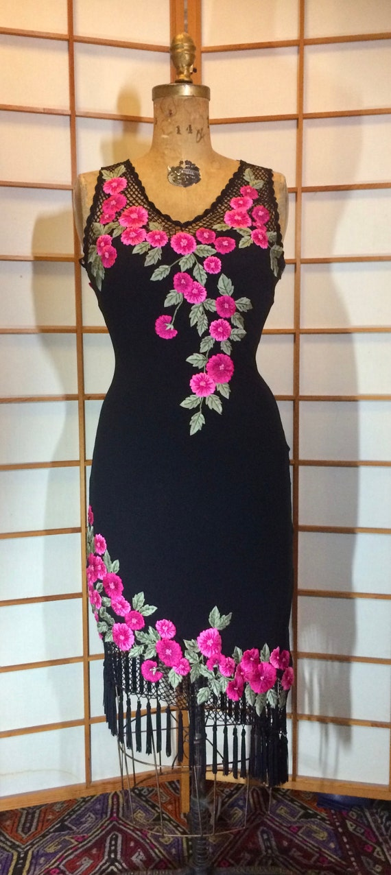 Black Dress with Flowers