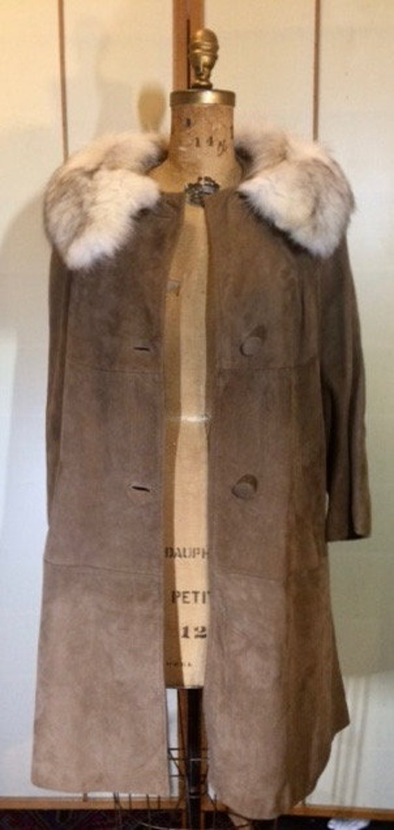 Suede Fox Fur Beige Brown 70's Coat S Hippy Penny… - image 7