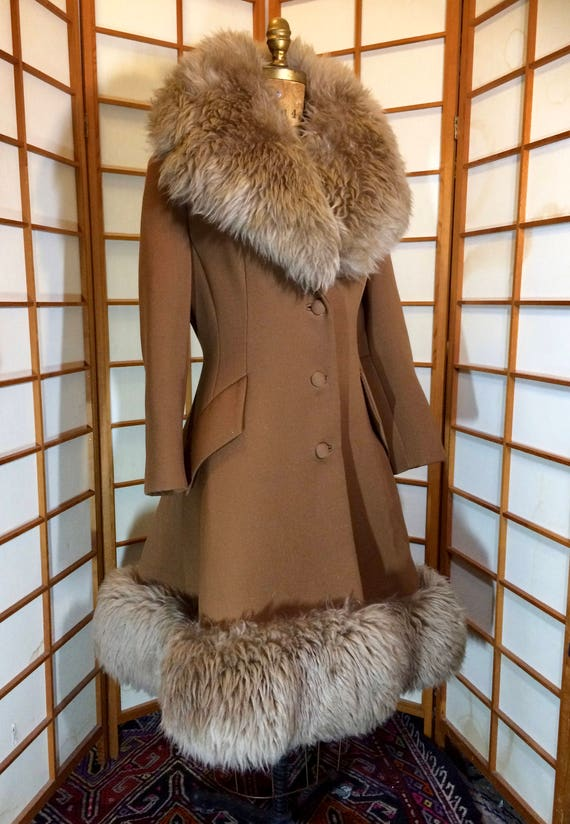60s Lilli Ann Brown Princess Coat Wool Fit and Fl… - image 1