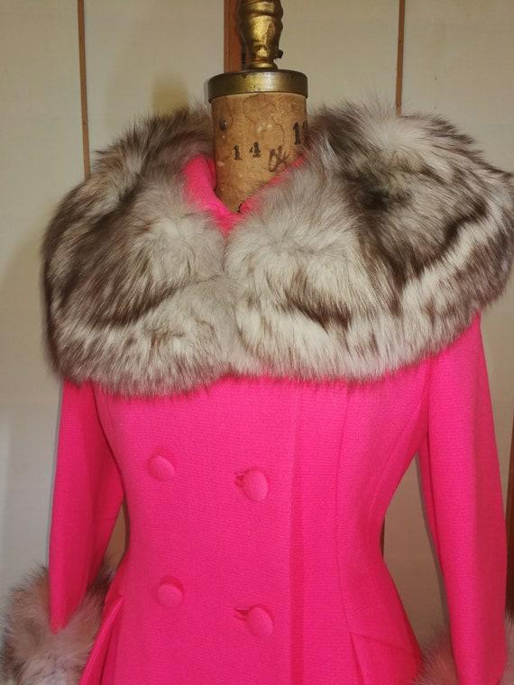 60s Pink Lilli Ann Norwegian Fox Fur Coat Fit and