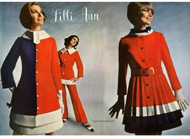 Vintage Scarf Styles -1920s to 1960s Vintage Women Lilli Ann Red White Blue 60S Mod Coat Wool Knit Attached Scarf Flexible Size $65.00 AT vintagedancer.com