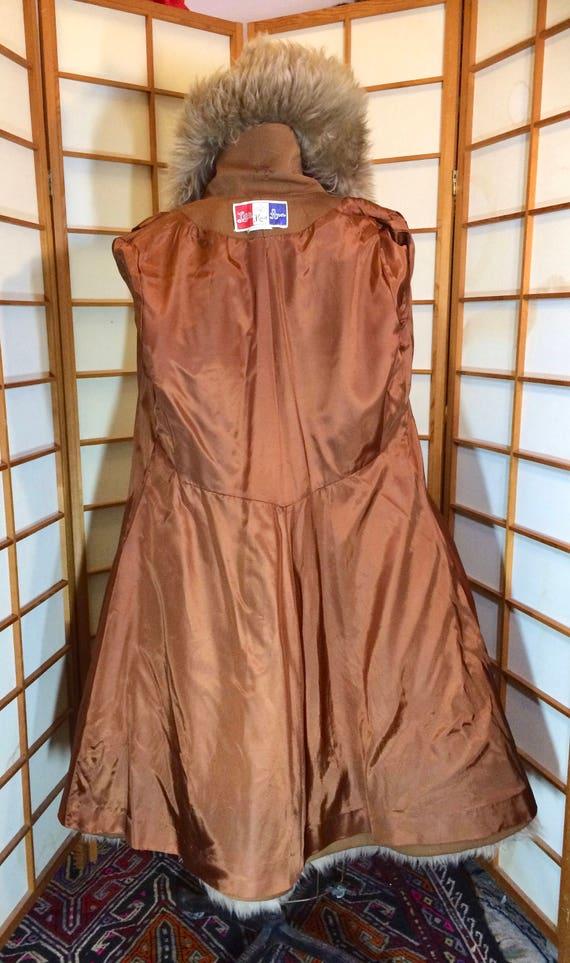 60s Lilli Ann Brown Princess Coat Wool Fit and Fl… - image 9