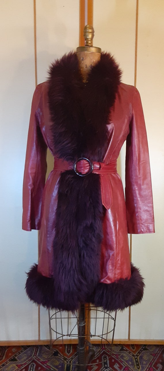 Leather Deep Red Burgundy Shearling Trimmed Prince