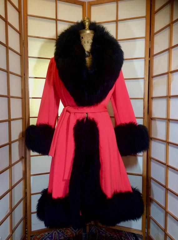 Lilli Ann Orange Coat, Lamb Shearling Mod 60's 70'