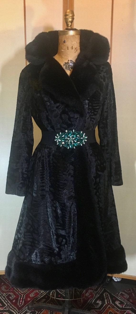 60s 70s Black Faux Fur Faux Persian Lamb Princess