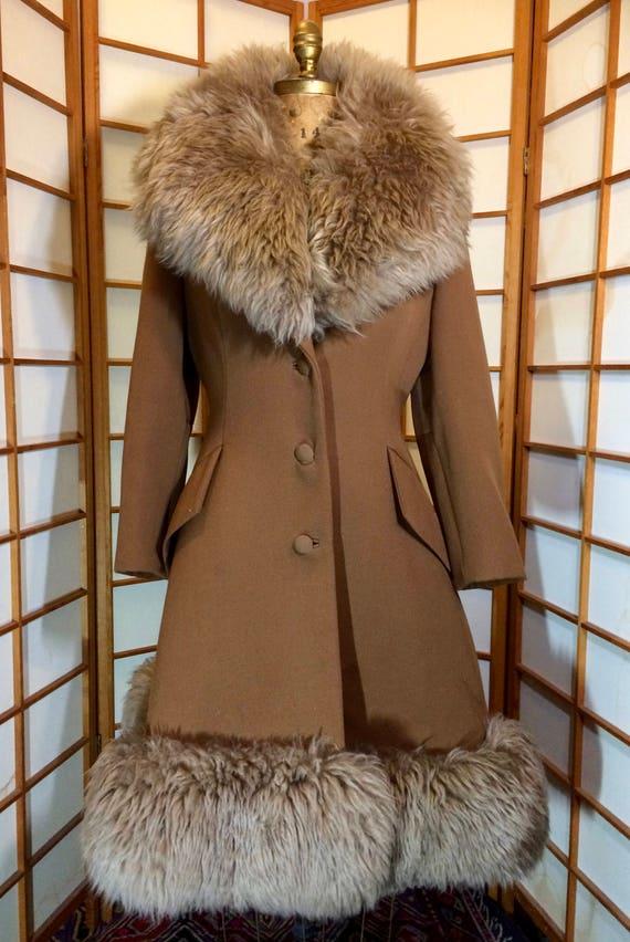 60s Lilli Ann Brown Princess Coat Wool Fit and Fl… - image 2