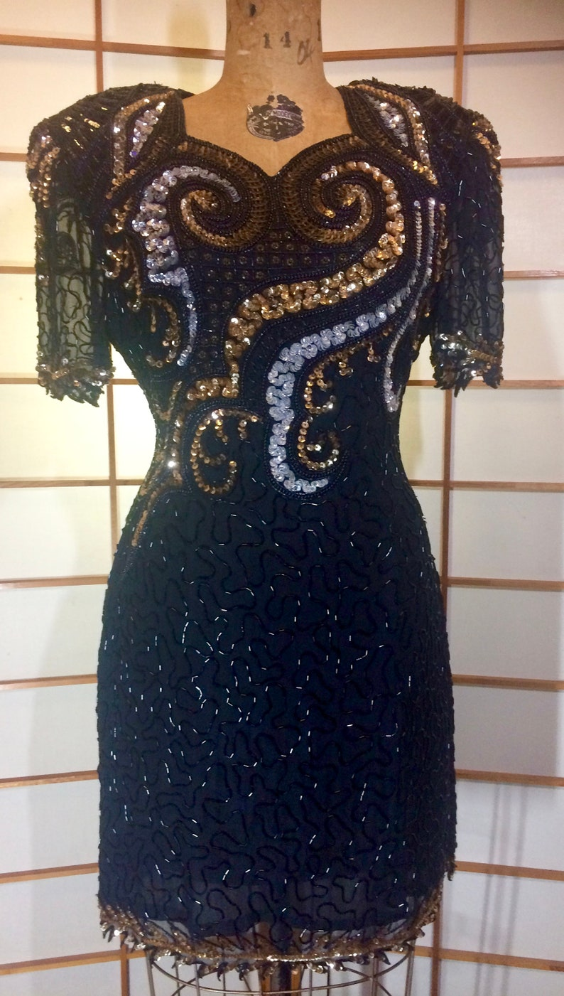 80s Dynasty Glam  Silk Beaded Sequined Dress Gold and Black Sweetheart Neckline Prom  ML