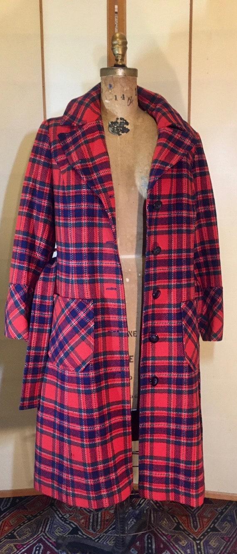 Women's Vintage coat- Plaid Pendleton Wool Red Fi… - image 7