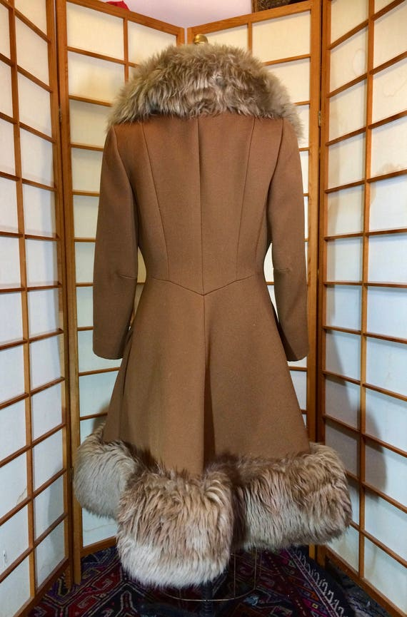 60s Lilli Ann Brown Princess Coat Wool Fit and Fl… - image 8