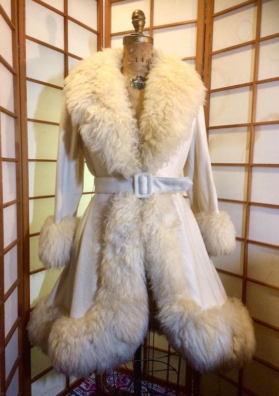 60s Shearling Wool Coat Princess Afghan Full Skit