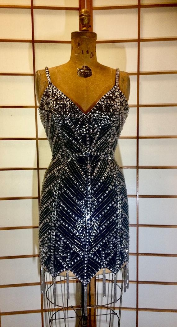 26432a6e 80s Beaded Fringe Dress Flapper Body Con Mini Tight Intricate   Etsy