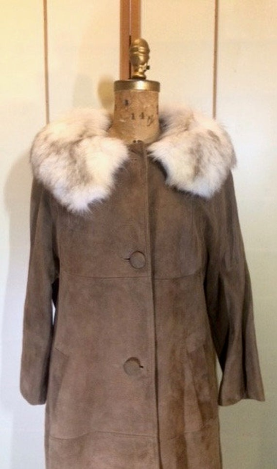 Suede Fox Fur Beige Brown 70's Coat S Hippy Penny… - image 2