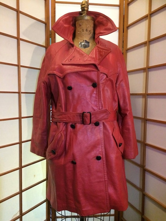 70s Red Leather Coat Trench Spy Coat Hippy  L/XL