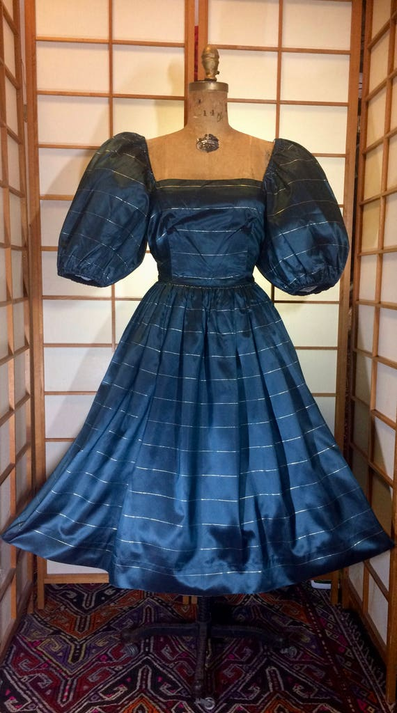 1940s 40s Vtg Silk Teal Dark Blue Pure Silk Fit and Flare Extreme Puff Sleeve Dress Onoff Shoulder XSS US size 02