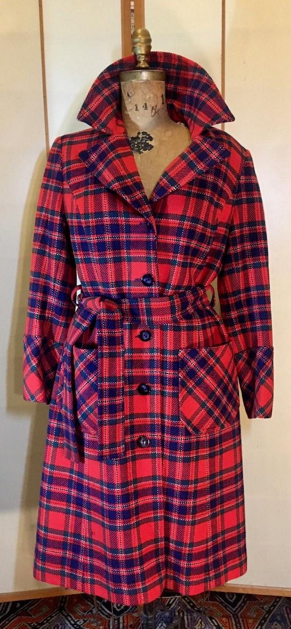 Women's Vintage coat- Plaid Pendleton Wool Red Fi… - image 1
