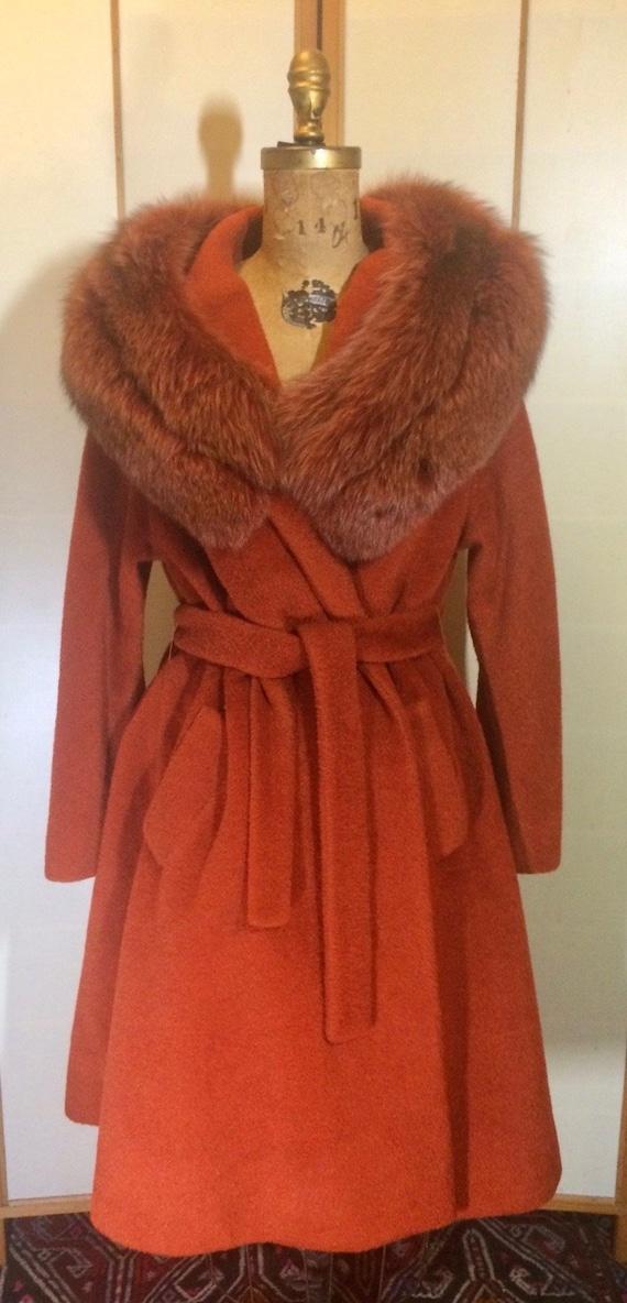 Lilli Ann Orange Coat Dyed Fox Fur Princess and Sw