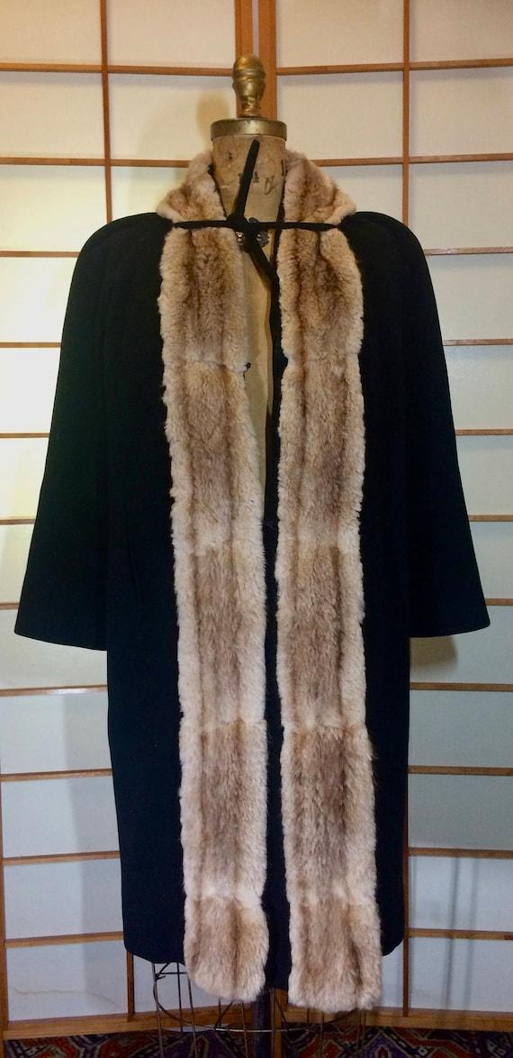 40s Cashmere Fur Coat  Film Noir Deco  Tuxedo Hone