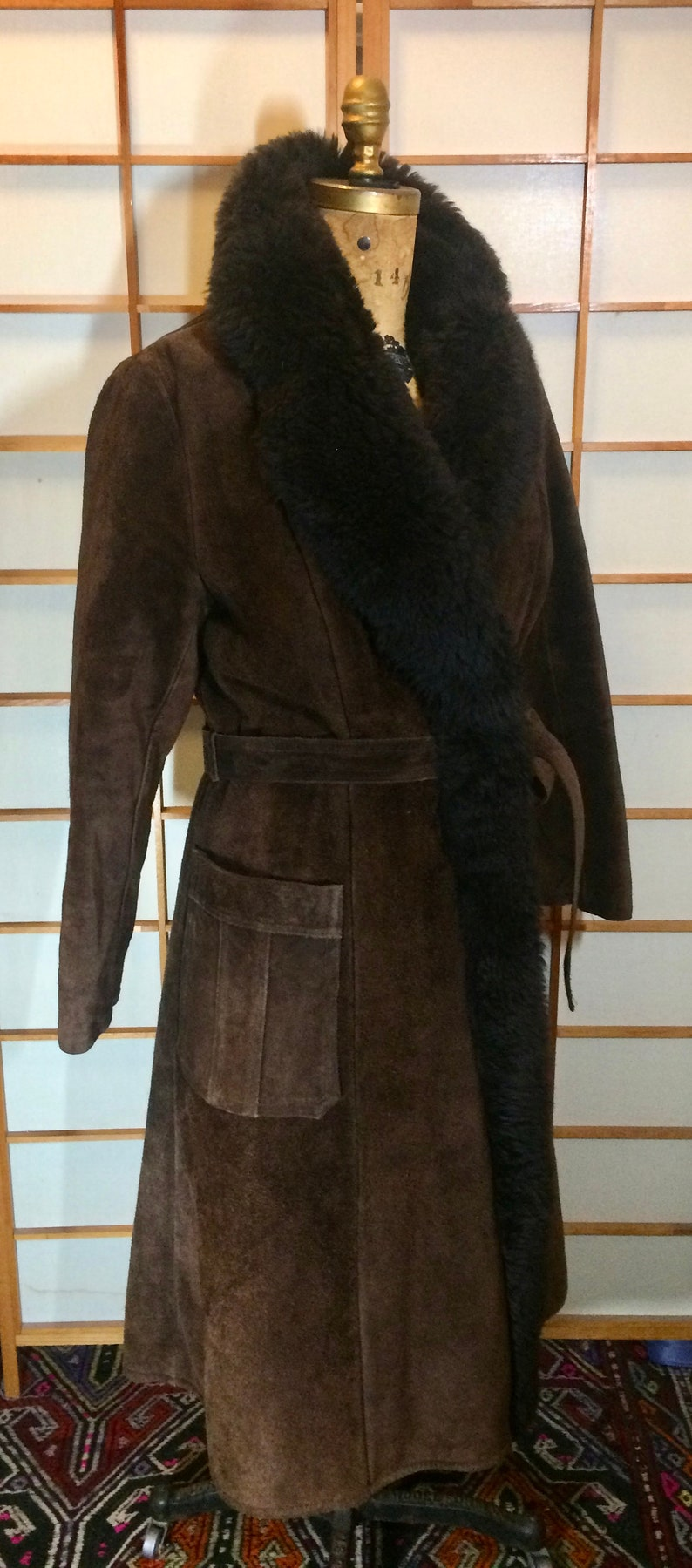 Vintage 70s Saks Fifth Ave Suede Coat Leather Sheep Shearling Afghan Russian Long Princess Brown Almost Famous Hippy Penny Lane SM