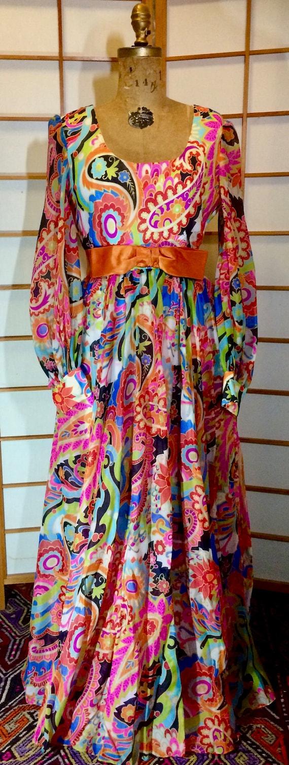 Vintage 70s Dress Maxi High Waisted Rainbow Paisle
