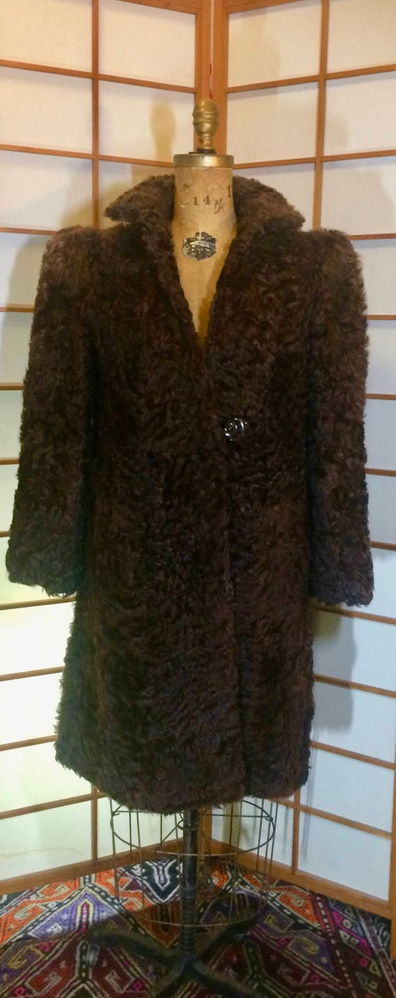 1940's Iconic Puff Sleeve Brown Saks Fifth Ave Bet