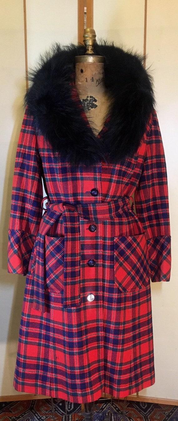 Women's Vintage coat- Plaid Pendleton Wool Red Fi… - image 3