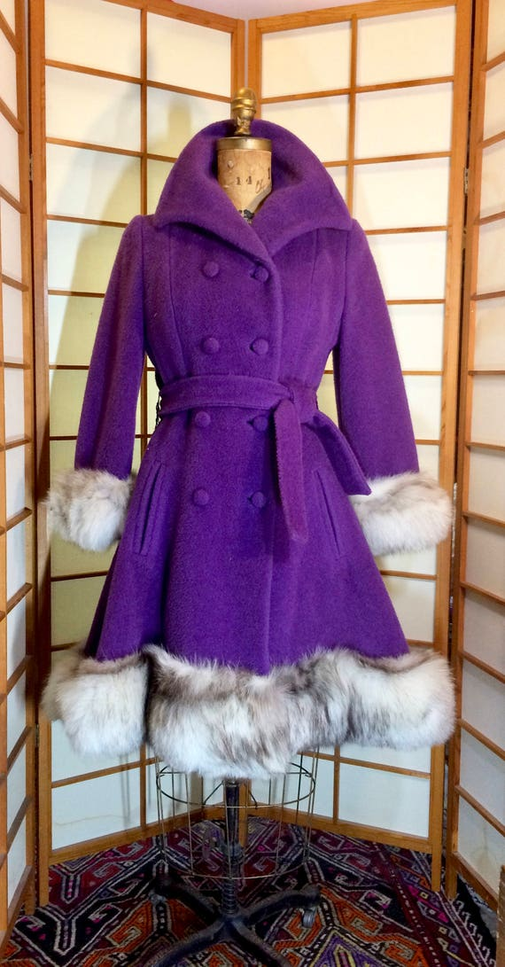 Lilli Ann Purple Wool Princess Coat and Massive Fo