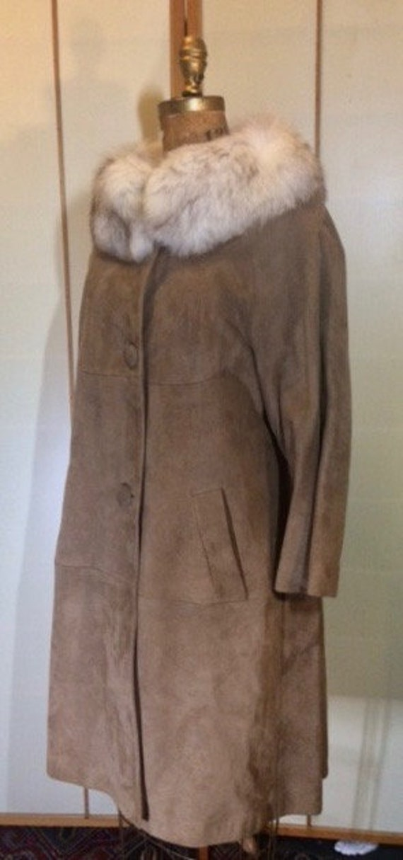 Suede Fox Fur Beige Brown 70's Coat S Hippy Penny… - image 5