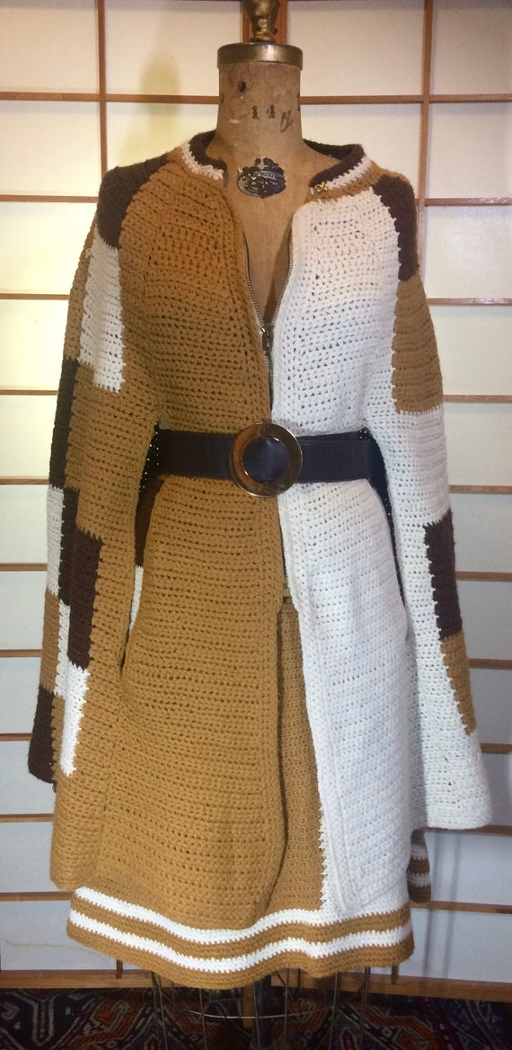 70s Knit Poncho Skirt Set-  Color Block Wool Cape