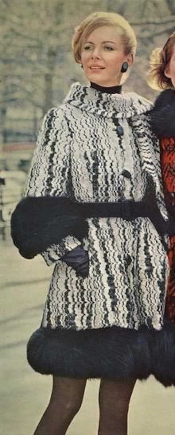 60s Lilli Ann Mod Fox Fur Black White Thick Wool K