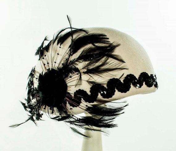 Noir Blanc Et Argent Plume Casemate Mini Chapeau Bibi Vintage Années 1920 Coiffe