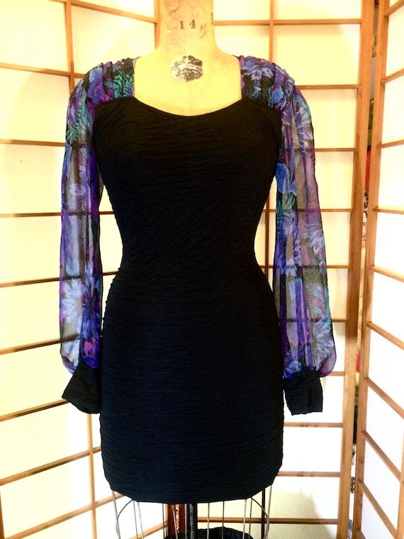 80's Vintage Black  Body Con Mesh-Bandage Dress an