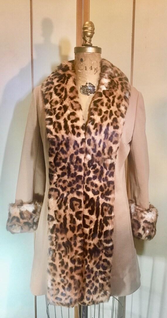 60s Lilli Ann Mod Pinup Rabbit Leopard Print Coat-