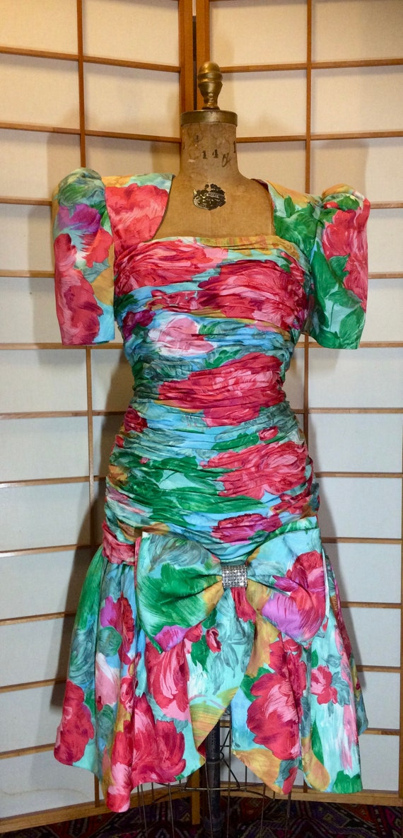 80s Does 40s Glam Ruched Floral Spring Drop Waist