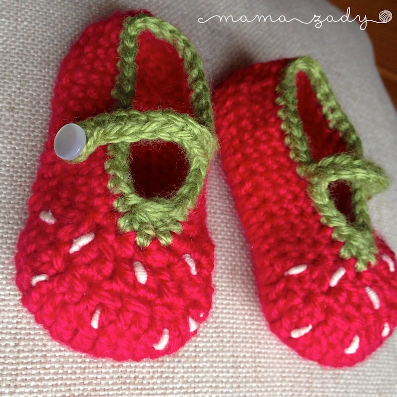 add7ea6c77c3b Strawberry Mary Jane Baby Booties - crocheted bamboo blend - red & green -  fruit crochet booties