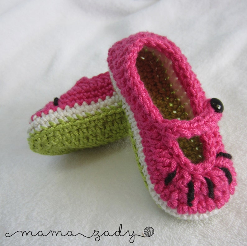 c554befd683cc Watermelon Mary Jane Baby Booties - crocheted bamboo blend yarn- pink,  green & white - fruit crochet booties