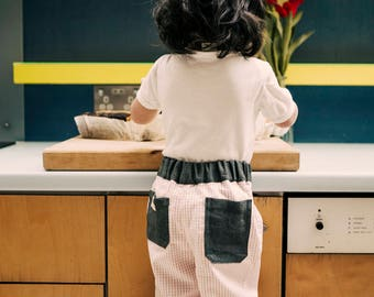 Children's trousers, 1-2 years, upcycled and one-of-a-kind summer pants, knee patches for long lasting, comfortable & eco-conscious