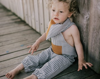 Childrens dungarees, size 1- 4years available, upcycled from organic gingham, eco-conscious & long lasting trousers for little ones