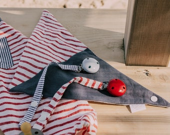 Upcycled Soother Ribbons with wooden clip, eco-conscious & long lasting for little ones, in two styles