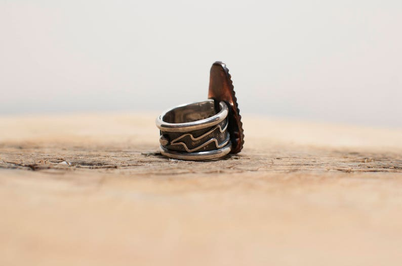 Number 8 Turquoise Silver /& Copper Lightning Ring
