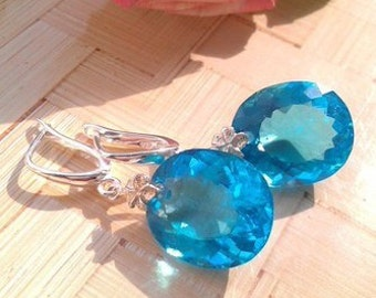 "Silver earrings with Topaz ""Sea blue"""