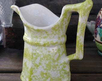 Vermont Maple Syrup Pitcher, Art Deco Ceramic Pitcher, Lime green splatter ceramics, Green Cream pitcher