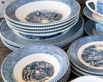 5e2a7d221f3e5 Vintage Mid Century Royal China Currier and Ives Dinnerware per piece