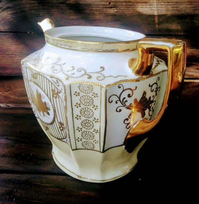 Gold Floral Fine China 1920s Yellow white gold Art Nouveau China Noritake Teapot vintage china Japanese Fine Porclelain
