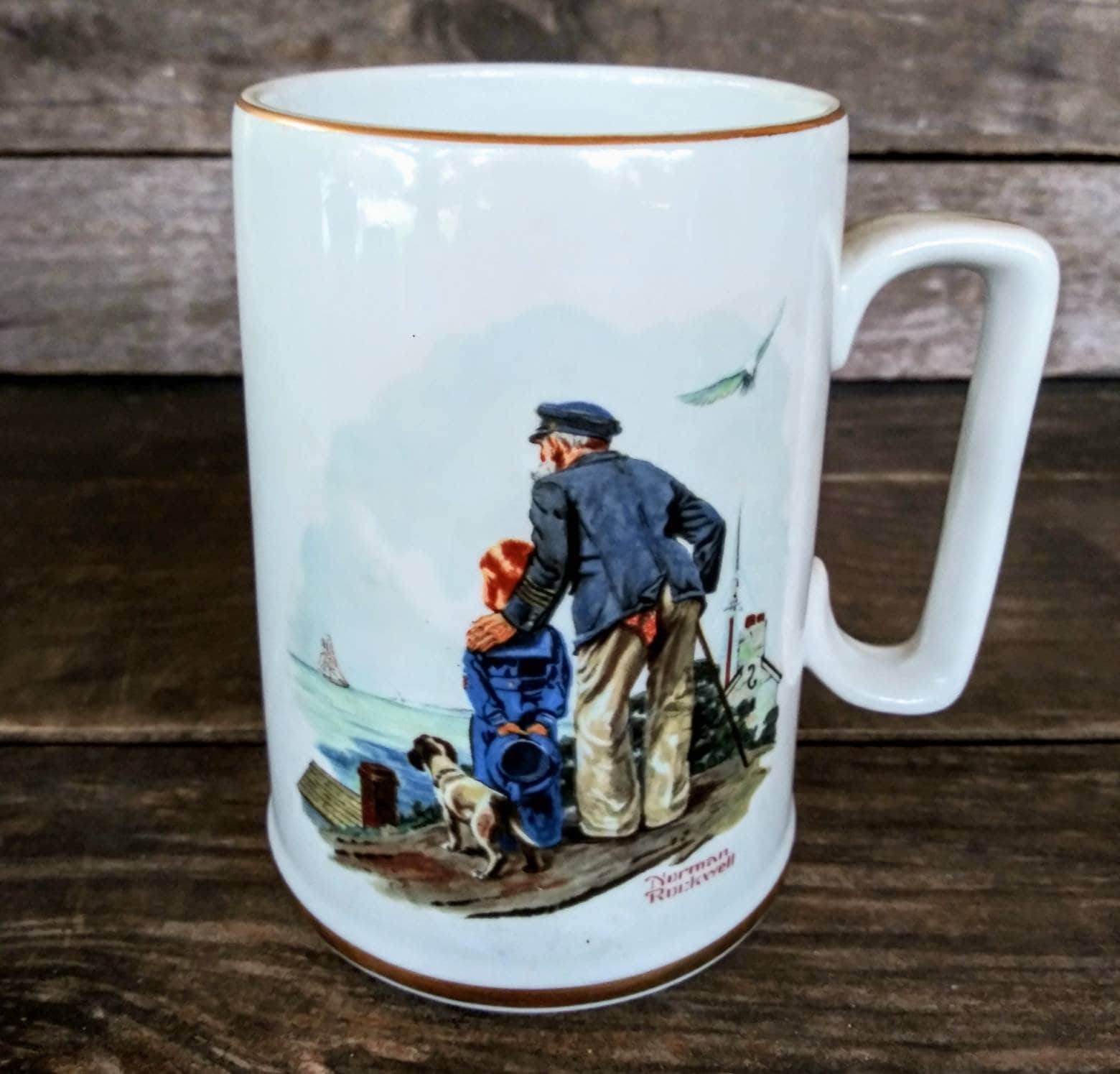 568a401d298 Vintage Norman Rockwell Mug, Looking out to sea, Authentic Norman ...